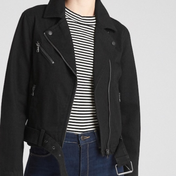 attractivefashion best loved 100% original Gap black denim moto jacket